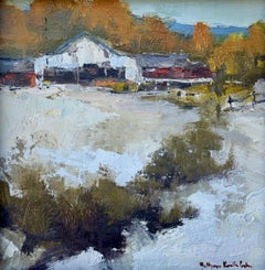 Cold Through the Winter Blow by Bethanne Cople, Small Oil on Board Painting