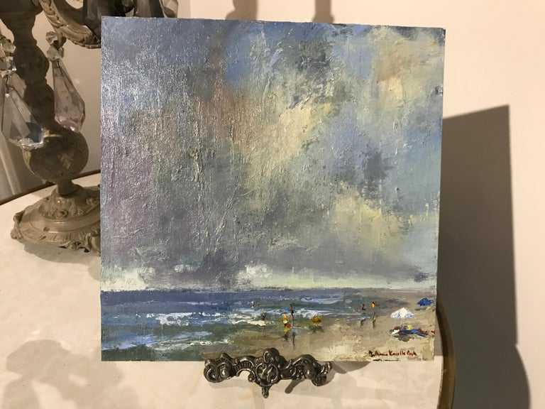 'The Spry Arms of the Wind' is a small Impressionist oil on board beach painting created by American artist Bethanne Cople in 2018. Featuring a palette made of blue, green, brown and yellow tones, the painting takes its inspiration in a poem from