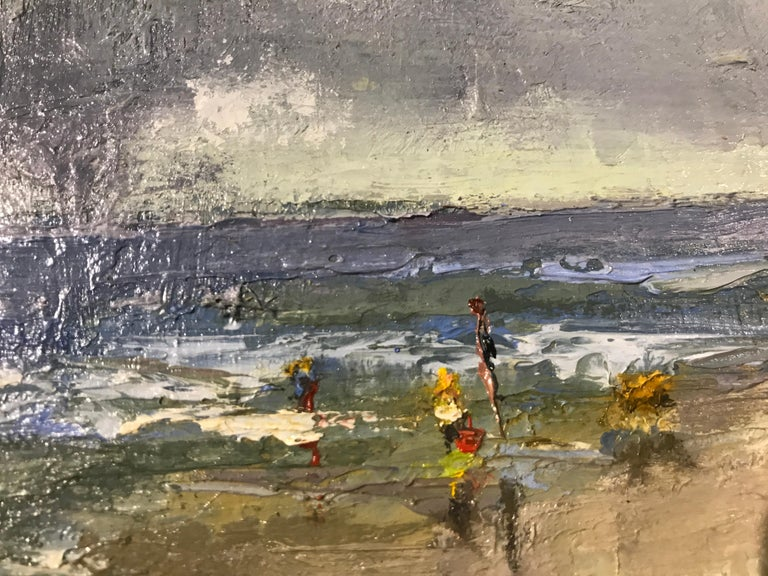 The Spry Arms of the Wind by Bethanne Cople, Small Beach Oil on Board Painting For Sale 2