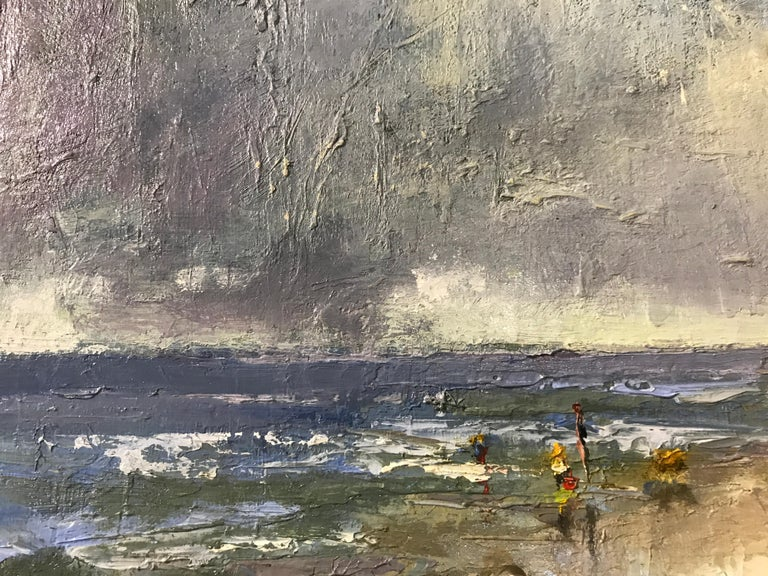The Spry Arms of the Wind by Bethanne Cople, Small Beach Oil on Board Painting For Sale 3