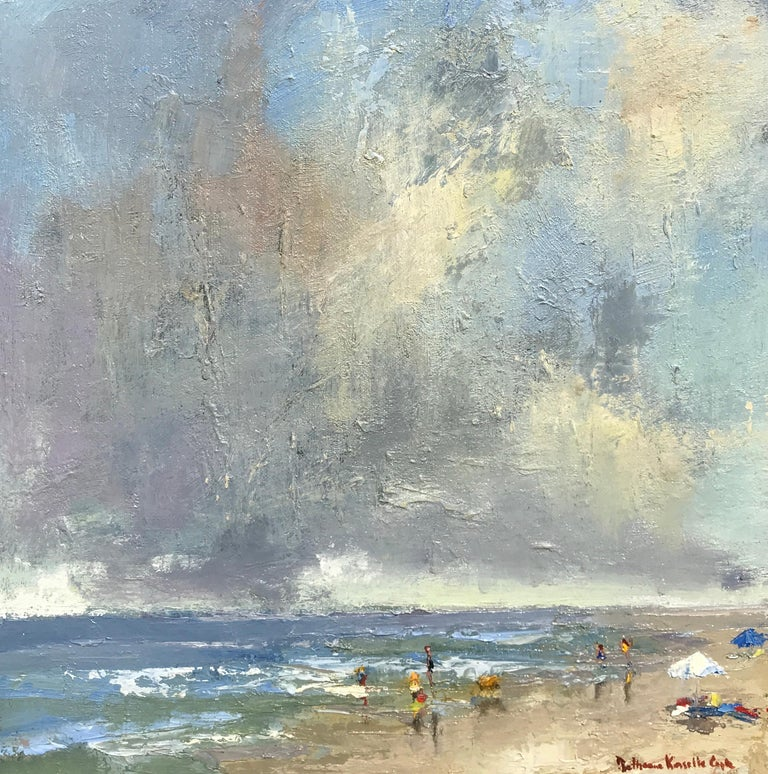 Bethanne Kinsella Cople Landscape Painting - The Spry Arms of the Wind by Bethanne Cople, Small Beach Oil on Board Painting