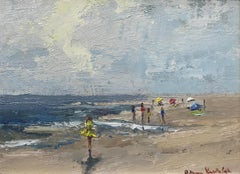 Thou Smiling Sea, Bethanne Cople Small Framed Impressionist Beach Painting