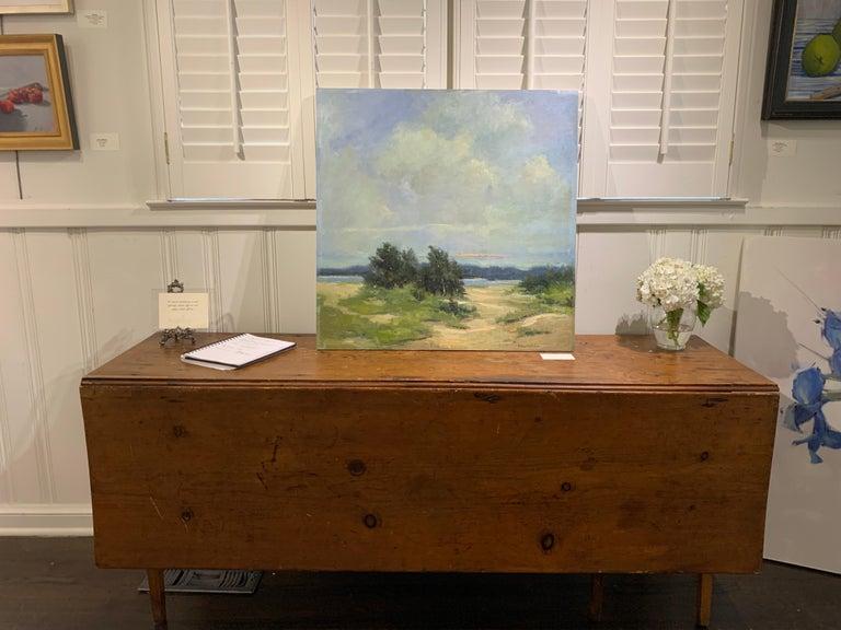 Windswept by Bethanne Cople, Framed Beach Oil on Foam Board - Painting by Bethanne Kinsella Cople