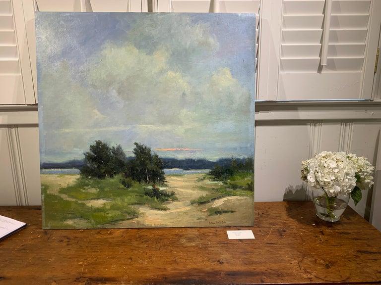 Windswept by Bethanne Cople, Framed Beach Oil on Foam Board - Impressionist Painting by Bethanne Kinsella Cople