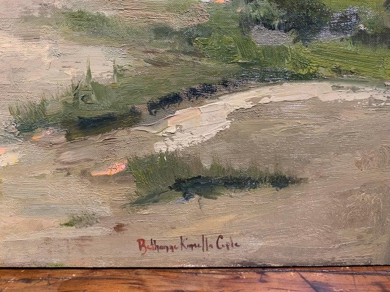 Windswept by Bethanne Cople, Framed Beach Oil on Foam Board - Gray Landscape Painting by Bethanne Kinsella Cople