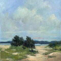 Windswept by Bethanne Cople, Framed Beach Oil on Foam Board