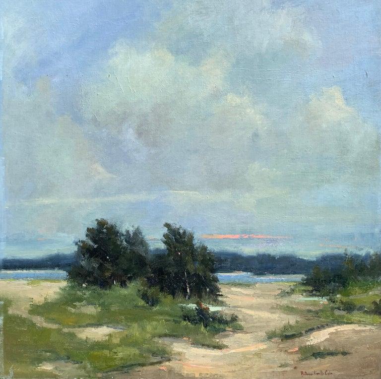 Bethanne Kinsella Cople Landscape Painting - Windswept by Bethanne Cople, Framed Beach Oil on Foam Board