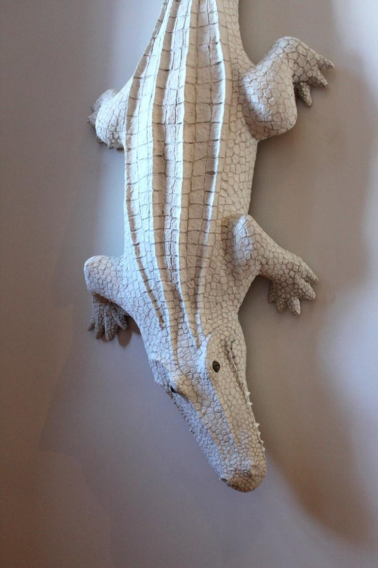 An original hand built paper over wire armature sculpture by contemporary conceptual American artist Bethany Krull.  Alligator, 2018 Paper over wire armature  This work is currently featured in the artist's solo exhibition inside The Corridors