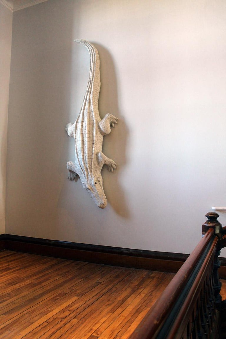 Giant White Alligator Wall Sculpture Contemporary Paper Porcelain Krull 2018 For Sale 1