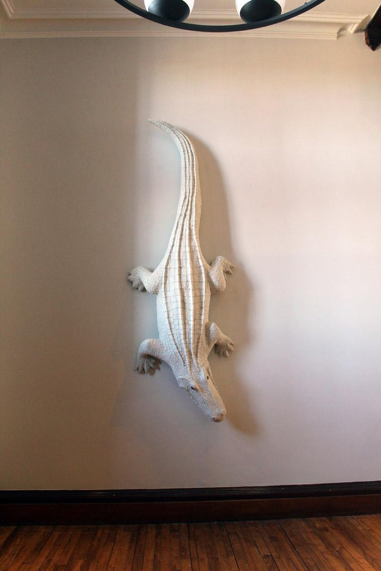 Giant White Alligator Wall Sculpture Contemporary Paper Porcelain Krull 2018 For Sale 2