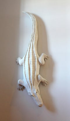 Giant White Alligator Wall Sculpture Contemporary Paper Porcelain Krull 2018