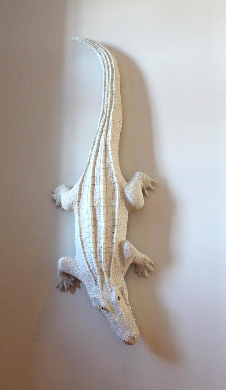 Bethany Krull Figurative Sculpture - Giant White Alligator Wall Sculpture Contemporary Paper Porcelain Krull 2018