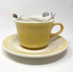 "Snails on a yellow mug ""Traversing Yellow"" by Bethany Krull"