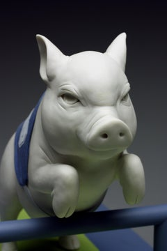 """White Porcelain Pig Jumping a Hurdle """"Underdog"""" by Bethany Krull"""