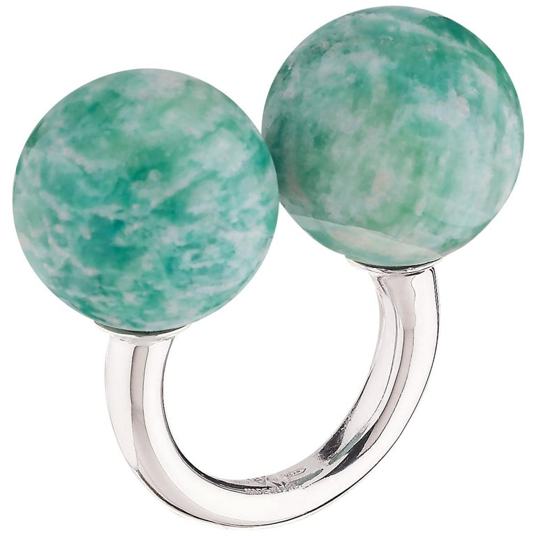 """Betony Vernon """"Double Sphere Amazonite Massage Ring"""" Sterling Silver 925 For Sale"""