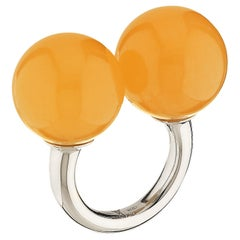 "Betony Vernon ""Double Sphere Calcite Massage Ring"" Sterling Silver 925 in Stock"
