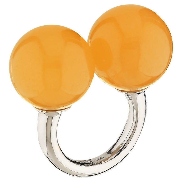 """Betony Vernon """"Double Sphere Calcite Massage Ring"""" Sterling Silver 925 in Stock For Sale"""