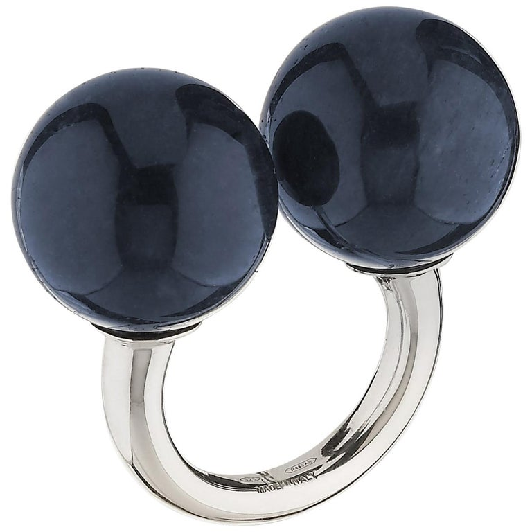 "Betony Vernon ""Double Sphere Dumortierite Massage Ring"" Sterling Silver 925 For Sale"