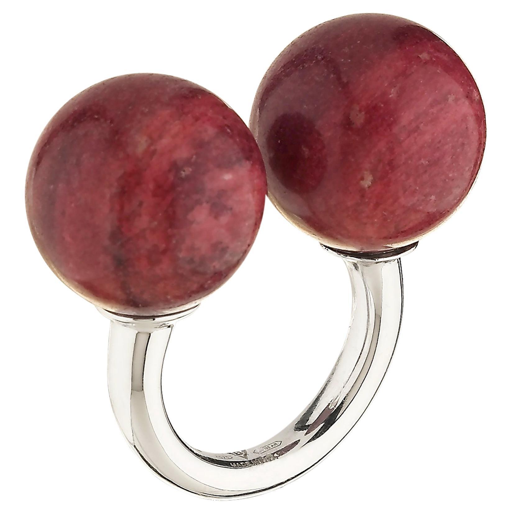 "Betony Vernon ""Double Sphere Thulite Massage Ring"" Sterling Silver 925 in Stock"