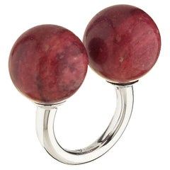 "Betony Vernon ""Double Sphere Thulite Massage Ring"" Sterling Silver 925 in Stock"