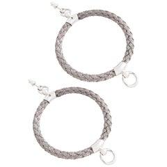 """Betony Vernon """"Noble Rope Hoop Earrings"""" Sterling Silver 925 Earrings in Stock"""