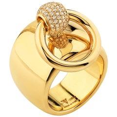 """Betony Vernon """"O-Ring Band Large Diamond Pavée"""" Ring 18 Karat Gold in Stock"""