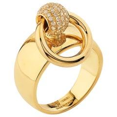 "Betony Vernon ""O-Ring Band MediumDiamond Pavée"" Ring 18 Karat Gold in Stock"