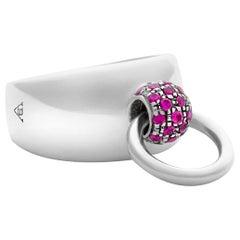 "Betony Vernon ""O-Ring Band Medium Ring"" Sterling Silver 925 Ruby Pavée in Stock"