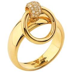 "Betony Vernon ""O-Ring Band MiniDiamond Pavée"" Ring 18 Karat Gold in Stock"