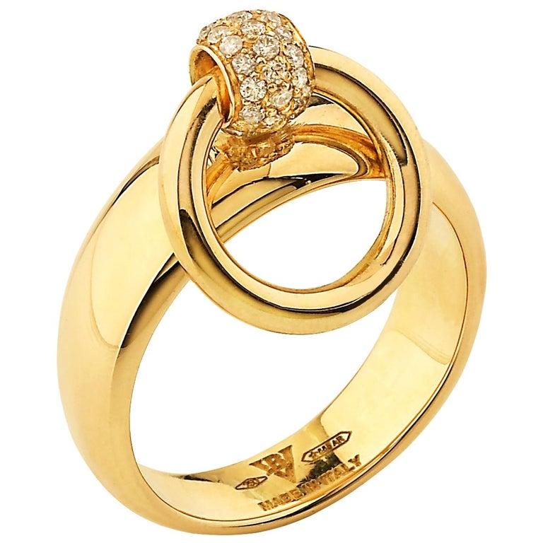 "Betony Vernon ""O-Ring Band MiniDiamond Pavée"" Ring 18 Karat Gold in Stock For Sale"