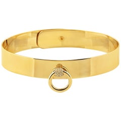 "Betony Vernon ""O-Ring Cuff mini Diamond Pavée"" Bracelet 18 Karat Gold in Stock"