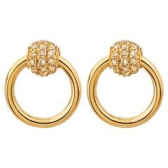 "Betony Vernon ""O-Ring Earrings Diamond Pavée mini"" 18K Gold Diamond in Stock"