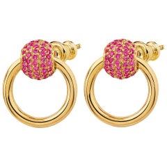 """Betony Vernon """"O-Ring Earrings Ruby Pavée"""" 18 Karat Gold"""