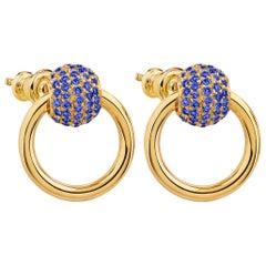 """Betony Vernon """"O-Ring Earrings Sapphire Pavée"""" 18 Karat Gold"""