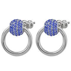 "Betony Vernon ""O-Ring Earrings Sapphire Pavée"" Sterling Silver 925"