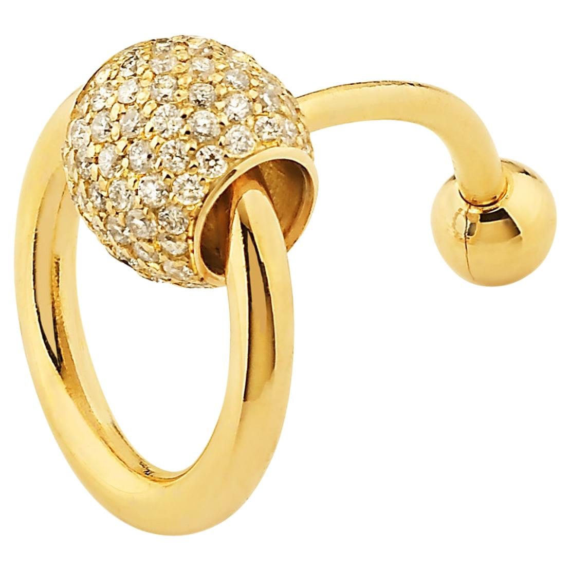 "Betony Vernon ""O-Ring Navel Piercing"" Piercing 18K Gold Pavée Diamond in Stock"