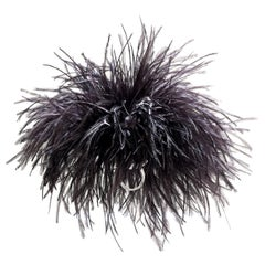 """Betony Vernon """"Ostrich Feather Puff"""" Black Ring Sterling Silver 925 in Stock"""