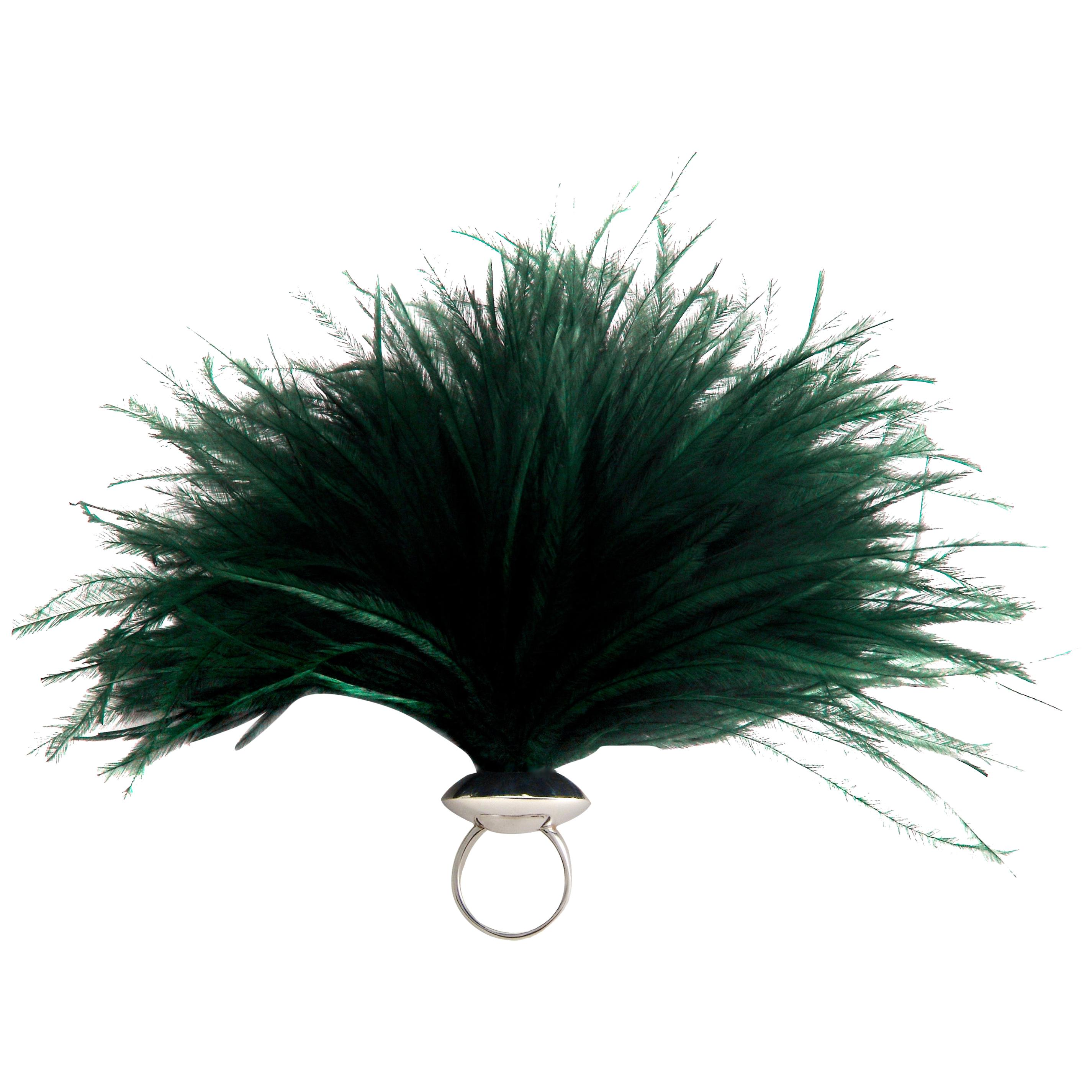 """Betony Vernon """"Ostrich Feather Puff"""" Green Ring Sterling Silver 925 in Stock"""