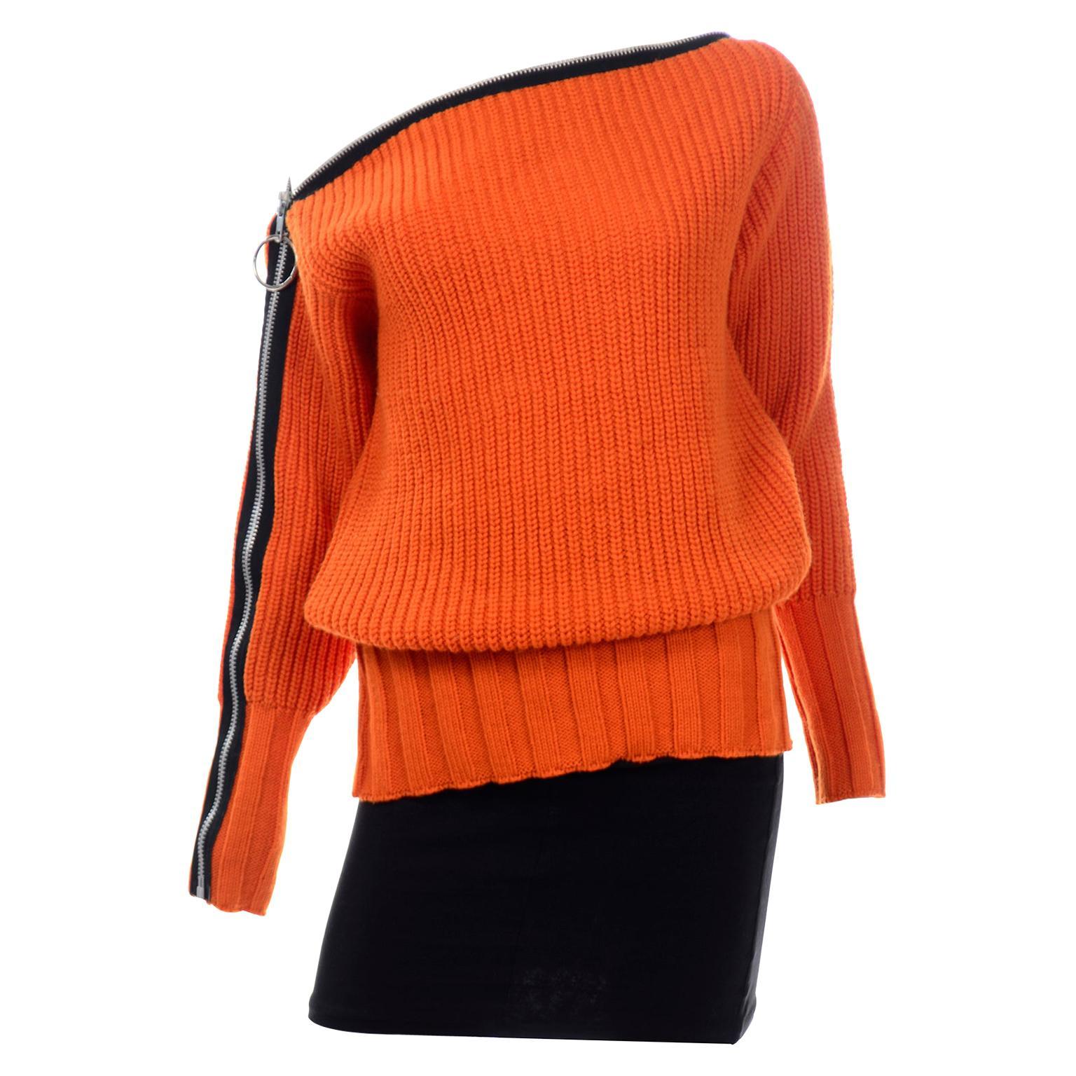 Betsey Johnson 1980s Orange Knit Zipper Oversized Sweater W Black Mini Skirt