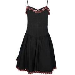 Betsey Johnson Black and Pink Ruffle Dress