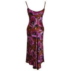 Betsey Johnson Rich Shades Of Violet & Coco Brown Bias-Cut Form-Fitting Maxi