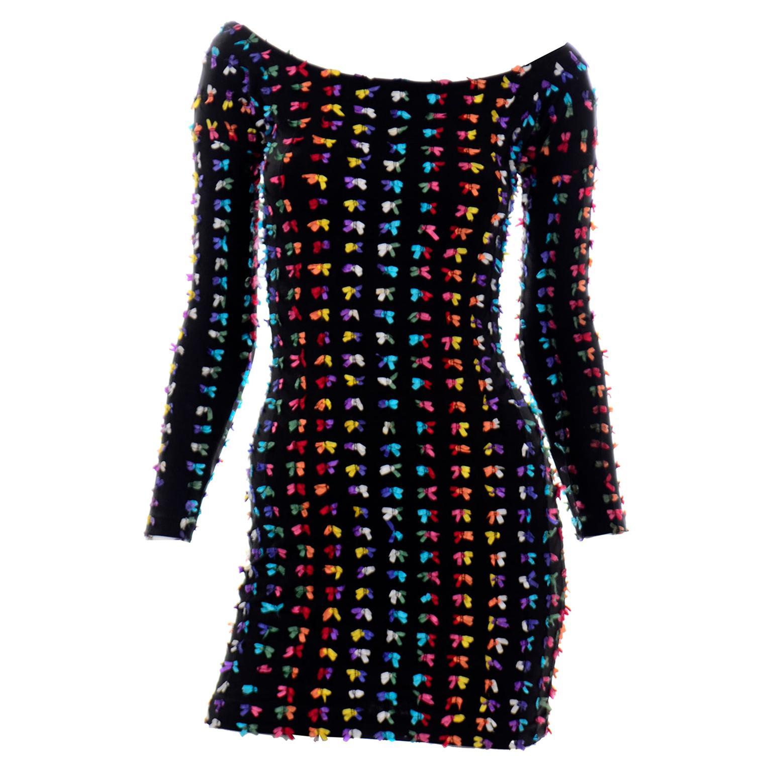 Betsey Johnson Vintage Punk Label Bodycon Stretch Mini Dress W Rainbow Bows