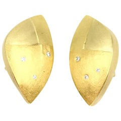 Betsy Fuller Multigold and Diamond Asymmetrical Clip on Earrings