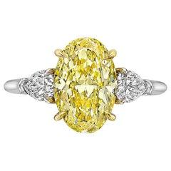 Betteridge 3.32 Carat Fancy Intense Yellow Oval Diamond Engagement Ring