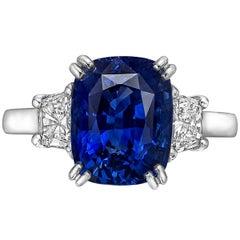 Betteridge 5.03 Carat No-Heat Sapphire and Diamond Ring