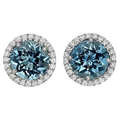 Betteridge Aquamarine and Diamond Halo Stud Earrings