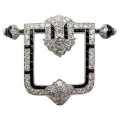 Betteridge Art Deco Diamonds Onyx Buckle Brooch