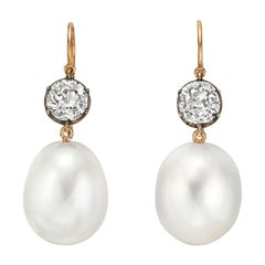 Betteridge South Sea Pearl and Old Mine Diamond Drop Earrings