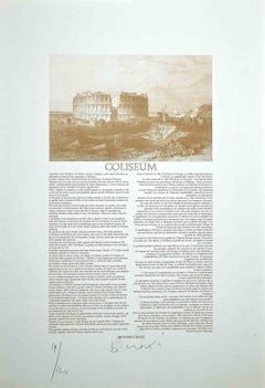 Coliseum - Original Lithograph and Offset by Bettino Craxi - 1970s