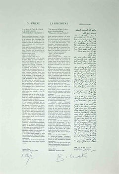 The Prayer - Original Offset Print by Bettino Craxi - 1996